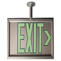 """Photoluminescent Exit Sign - One Sided - Post Mount - 17-1/8"""" x 8-7/8"""" - Silver"""