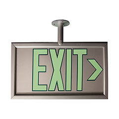 """Photoluminescent Exit Sign - Two Sided - Post Mount - 17-1/8"""" x 8-7/8"""" - Silver"""