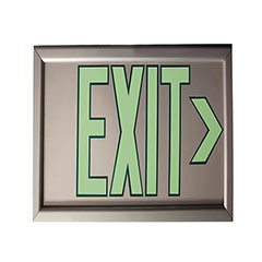 """Photoluminescent Exit Sign - One Sided - Wall Mount Bracket - 17-1/8"""" x 8-7/8"""" - Silver"""