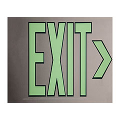 """Photoluminescent Exit Sign - One Sided - No Frame/Mount - 15-3/4"""" x 8-1/2"""" - Silver"""