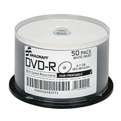 SKILCRAFT® White Inkjet Printable DVD-R