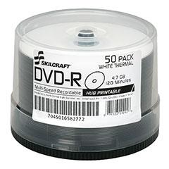SKILCRAFT® White Laser Printable DVD-R