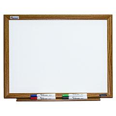 """Quartet®/SKILCRAFT® Magnetic Porcelain Dry Erase White Board - 24""""  x 18"""" - Oak Finish Frame"""