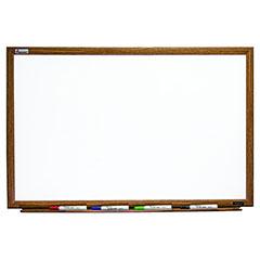 """Quartet®/SKILCRAFT® Magnetic Porcelain Dry Erase White Board - 48"""" x 36"""" - Oak Finish Frame"""