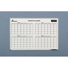 Quartet®/SKILCRAFT® 4-Month Calendar Planner Board - Aluminum Frame