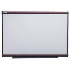 """Quartet®/SKILCRAFT® Total Erase® White Board - 48"""" x 36"""" - Mahogany Finish Frame"""