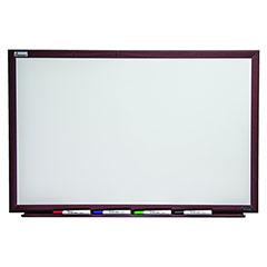 "Quartet®/SKILCRAFT® Magnetic Porcelain Dry Erase White Board - 48"" x 36"" - Mahogany Finish Frame"