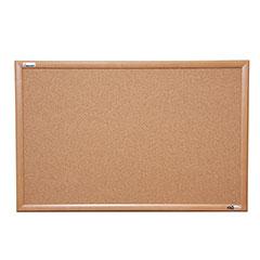 "Quartet®/SKILCRAFT® Natural Cork Bulletin Board - Oak Frame - 48"" x 36"""