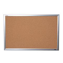 "Quartet®/SKILCRAFT® Natural Cork Bulletin Board - Aluminum Frame - 36"" x 24"""
