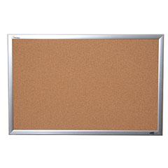 "Quartet®/SKILCRAFT® Natural Cork Bulletin Board - Aluminum Frame - 24"" x 18"""