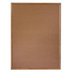 "Quartet®/SKILCRAFT® Natural Cork Bulletin Board - Oak Frame - 12"" x 36"""