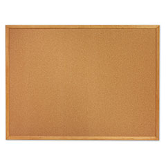 "Quartet®/SKILCRAFT® Natural Cork Bulletin Board - Oak Frame - 72"" x 48"""