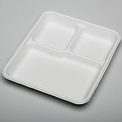 SKILCRAFT® Three Compartment Disposable Plate