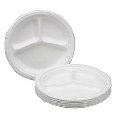 "Paper Plate - Triple Compartment - 10-1/4"" - 7/8"" Deep"