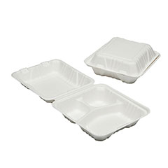 """SKILCRAFT® Clamshell Hinged Lid To Go Food Containers - 8"""" x 8"""" x 3"""" - 3 Compartment"""