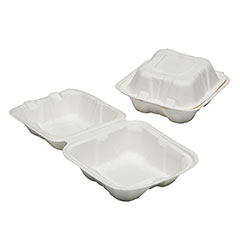 """SKILCRAFT® Clamshell Hinged Lid To Go Food Containers - 6"""" x 6"""" x 3"""""""