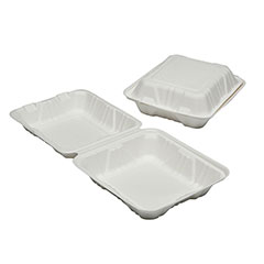"""SKILCRAFT® Clamshell Hinged Lid To Go Food Containers - 9"""" x 9"""" x 3"""""""