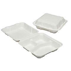 """SKILCRAFT® Clamshell Hinged Lid To Go Food Containers - 9"""" x 9"""" x 3"""" - 3 Compartment"""