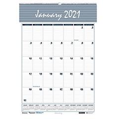 """12-Month Wall Calendars - Wirebound - 2021 - 15-1/2"""" x 22"""""""