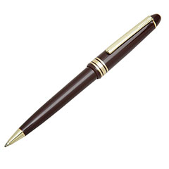 Push Cap Ballpoint Pen - Medium Point - Burgundy Barrel/Blue Ink