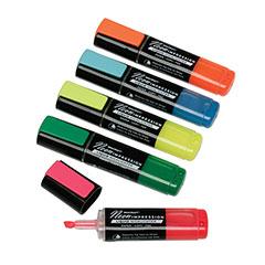 SKILCRAFT® Neon Liquid Highlighter - Blue, Green, Orange, Pink & Yellow Ink