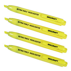 Retractable Chisel Tip Highlighter - 4 Pack - Yellow Ink