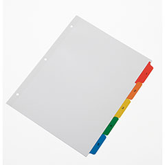 Table of Contents Dividers 1 - 5 Numerical Tabs