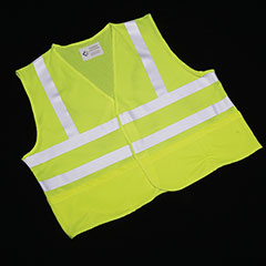 Class 2 ANSI 107-2010 Compliant Safety Vest - Front Closure w/Pockets - Large - Lime/Silver Trim