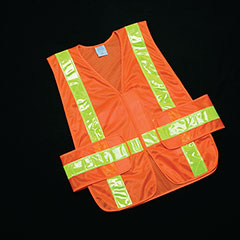 Class 2 ANSI 107-2010 Compliant Safety Vest - Front Closure w/Pockets - OSFA - Orange/Yellow Trim