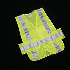 Class 2 ANSI 107-2010 Compliant Safety Vest - Front Closure w/Pockets - OSFA - Yellow/Lime/Silver Trim
