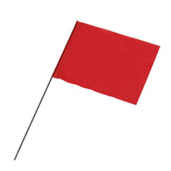 "Wire Staff Marking Flags - 4"" x 5"" - Red"