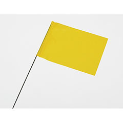 "Wire Staff Marking Flags - 4"" x 5"" - Yellow"