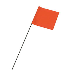 "Wire Staff Marking Flags - 2-1/2"" x 3-1/2"" - Orange"