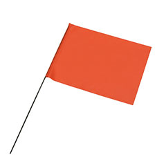 "Wire Staff Marking Flags - 4"" x 5"" - Orange"