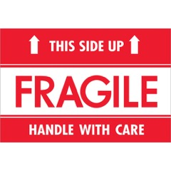 "2 x 3"" - ""Fragile - This Side Up - HWC"" Labels"