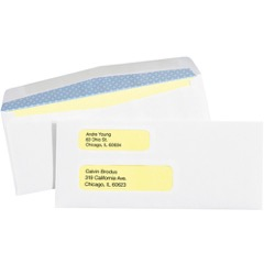 "3 7/8 x 8 7/8"" - #9 Double Window Gummed Business Envelopes with Security Tint"