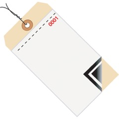 """6 1/4 x 3 1/8"""" - (0000-0499) Inventory Tags 3 Part Blank w/Carbon #8 - Pre-Wired"""