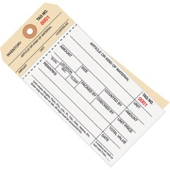 Inventory Tags 2 Part Carbonless Stub Style # 8