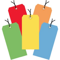 13 Pt. Shipping Tags - Assorted<br/>Color Packs - Pre-Strung