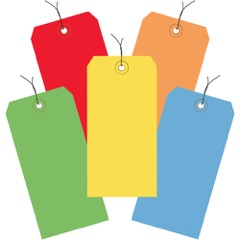 13 Pt. Shipping Tags - Assorted<br/>Color Packs - Pre-Wired