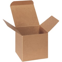 "4 x 4 x 4"" Kraft Reverse Tuck Folding Cartons"