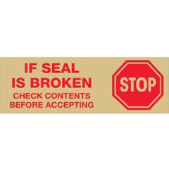 Tape Logic® Pre-Printed - Stop if Seal is Broken - Tan